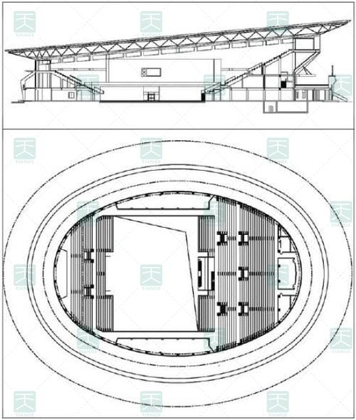 体育馆内剖面、平面